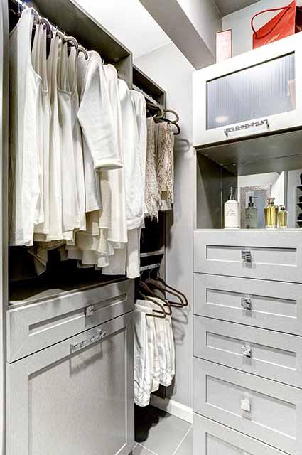 Closet wardrobe with corner cabinets double hanging clothing
