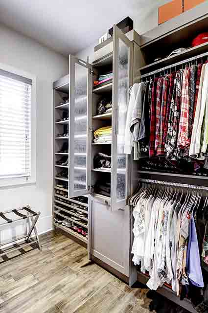 Closet cabinet with rain glass lamindated door glass inserts