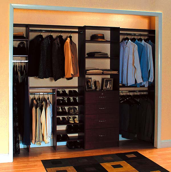 Adult reach in closet shoe shelves and double hanging to maximize space