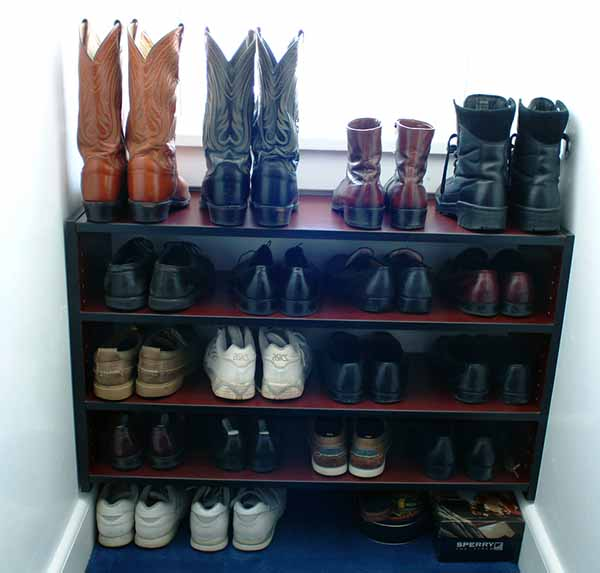 reach in closet with shoe shelves for maximum storage