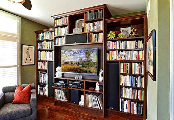 bookcase with enterainment center neatly organized