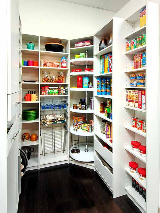 Baker's pantry organized with Lazy Susan and custom shelving