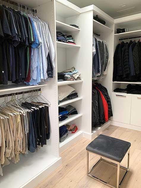 Closets organized with pants and shirt double hanged