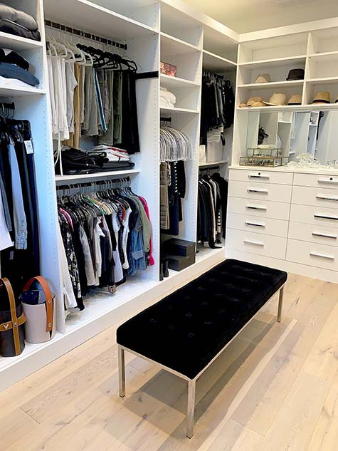 Closet organizer with bench