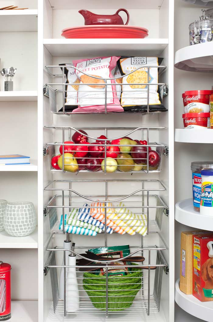 Pantry with Lazy Susan neatly organized