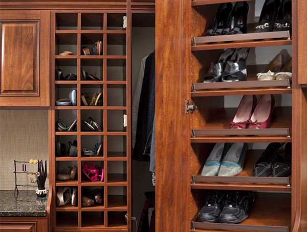 Shoes shelves and cubbies organized to maximize storage