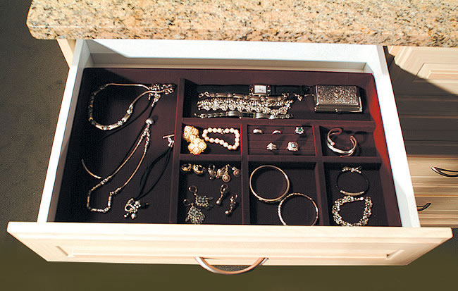 Velvet Jewelry Insert in custom closet drawer